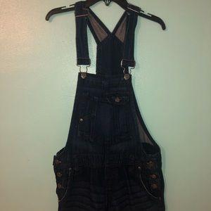 Vintage l.e.i Overall Denim Short Blue Jean Romper